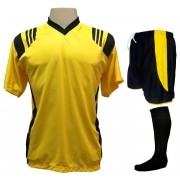 Fardamento Completo modelo Roma 20+1 (20 camisas Amarelo/Preto + 20 calções modelo Copa Preto/Amarelo + 20 pares de meiões Preto + 1 conjunto de goleiro) + Brindes