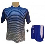 Uniforme Esportivo com 12 camisas modelo City Royal/Branco + 12 calções modelo Copa Royal/Branco + Brindes