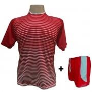 Uniforme Esportivo com 18 camisas modelo City Vermelho/Branco + 18 calções modelo Copa Vermelho/Branco + Brindes