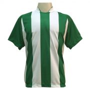Jogo de Camisa com 18 unidades modelo Milan Verde/Branco + 1 Goleiro + Brindes