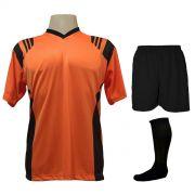Fardamento Completo modelo Roma Laranja/Preto 12+1 (12 camisas + 12 calções + 13 pares de meiões + 1 conjunto de goleiro) - Frete Grátis Brasil + Brindes