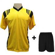 Uniforme Esportivo com 12 camisas modelo Roma Amarelo/Preto + 12 calções modelo Madrid Preto + Brindes