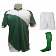 Fardamento Completo modelo Bélgica 20+2 (20 camisas Verde/Branco + 20 calções modelo Madrid Branco + 20 pares de meiões Verde + 2 conjuntos de goleiro) + Brindes