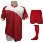 Fardamento Completo modelo Bélgica 20+2 (20 camisas Vermelho/Branco + 20 calções modelo Madrid Vermelho + 20 pares de meiões Vermelho + 2 conjuntos de goleiro) + Brindes