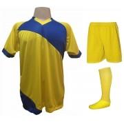 Fardamento Completo modelo Bélgica 20+2 (20 camisas Amarelo/Royal + 20 calções modelo Madri Amarelo + 20 pares de meiões Amarelo + 2 conjuntos de goleiro) + Brindes