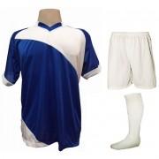 Fardamento Completo modelo Bélgica 20+2 (20 camisas Royal/Branco + 20 calções modelo Madrid Branco + 20 pares de meiões Branco + 2 conjuntos de goleiro) + Brindes