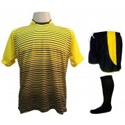 Fardamento Completo modelo City 18+2 (18 Camisas Amarelo/Preto + 18 Calções Modelo Copa Preto/Amarelo + 18 Pares de Meiões Pretos + 2 Conjuntos de Goleiro) + Brindes