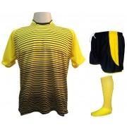Fardamento Completo modelo City 18+2 (18 Camisas Amarelo/Preto + 18 Calções Modelo Copa Preto/Amarelo + 18 Pares de Meiões Amarelos + 2 Conjuntos de Goleiro) + Brindes