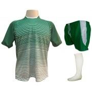 Fardamento Completo modelo City 12+1 (12 Camisas Verde/Branco + 12 Calções Copa Verde/Branco + 12 Pares de Meiões Brancos + 1 Conjunto de Goleiro) + Brindes