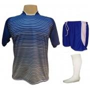 Fardamento Completo modelo City 12+1 (12 Camisas Royal/Branco + 12 Calções Copa Royal/Branco + 12 Pares de Meiões Brancos + 1 Conjunto de Goleiro) + Brindes