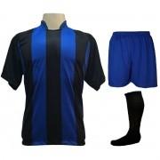 Fardamento Completo modelo Milan 20+2 (20 camisas Preto/Royal + 20 calções modelo Madrid Royal + 20 pares de meiões Preto + 2 conjuntos de goleiro) + Brindes