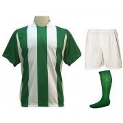 Fardamento Completo modelo Milan 20+2 (20 camisas Verde/Branco + 20 calções modelo Madrid Branco + 20 pares de meiões Verde + 2 conjuntos de goleiro) + Brindes