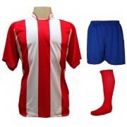 Fardamento Completo modelo Milan 20+2 (20 camisas Vermelho/Branco + 20 calções modelo Madrid Royal + 20 pares de meiões Vermelho + 2 conjuntos de goleiro) + Brindes