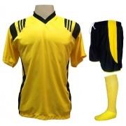 Fardamento Completo modelo Roma 20+2 (20 camisas Amarelo/Preto + 20 calções modelo Copa Preto/Amarelo+ 20 pares de meiões Amarelo + 2 conjuntos de goleiro) + Brindes