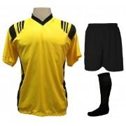 Fardamento Completo modelo Roma 20+2 (20 camisas Amarelo/Preto + 20 calções modelo Madrid Preto + 20 pares de meiões Preto + 2 conjuntos de goleiro) + Brindes