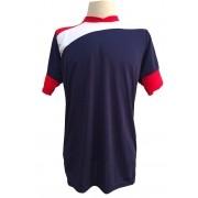 Jogo de Camisa com 14 unidades modelo Sporting Marinho/Vermelho/Branco + 1 Goleiro + Brindes