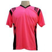 Jogo de Camisa com 18 unidades modelo Roma Rosa/Preto + 1 Goleiro + Brindes