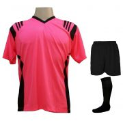 Uniforme Completo modelo Roma 18+2 (18 Camisas Rosa/Preto + 18 Calções Madrid Preto + 18 Pares de Meiões Pretos + 2 Conjuntos de Goleiro) + Brindes