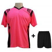 Uniforme Esportivo com 12 camisas modelo Roma Rosa/Preto + 12 calções modelo Madrid + 1 Goleiro + Brindes
