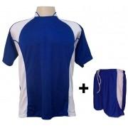 Uniforme Esportivo com 14 camisas modelo Suécia Royal/Branco + 14 calções modelo Copa + 1 Goleiro + Brindes