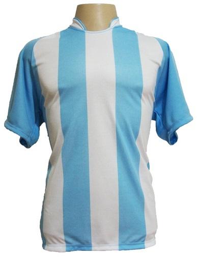Jogo de Camisa Milan com 18 Celeste/Branco - Frete Gr�tis Brasil + Brindes
