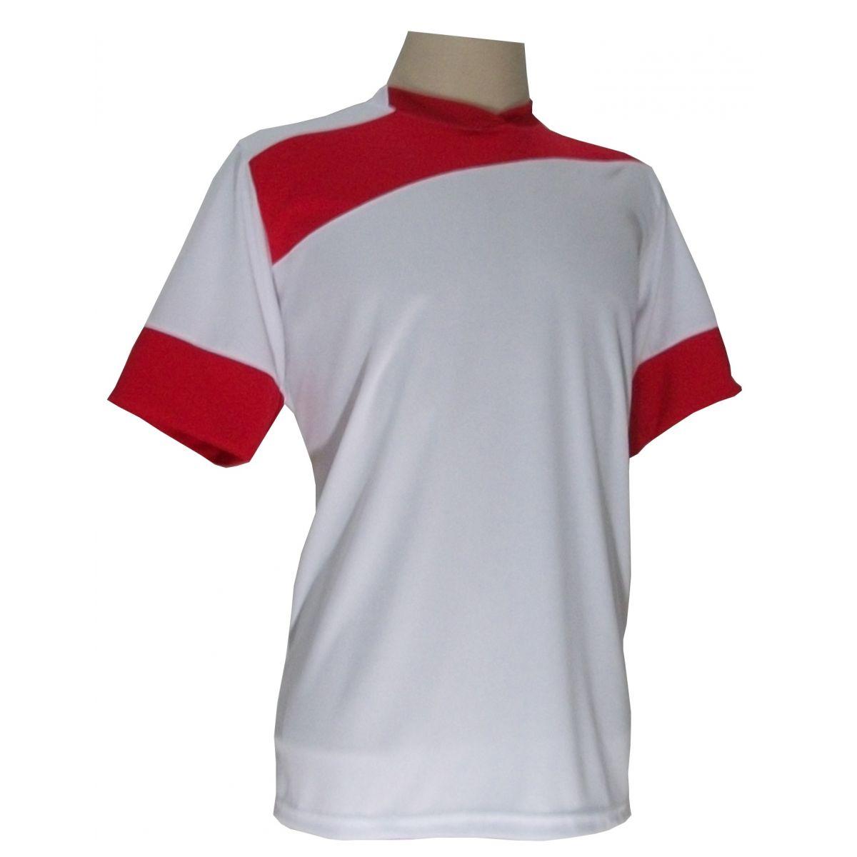Jogo de Camisa com 14 unidades modelo Sporting Branco/Vermelho + 1 Goleiro + Brindes