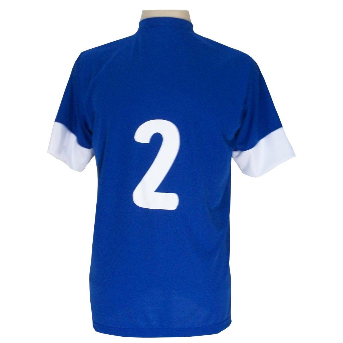 Jogo de Camisa com 14 unidades modelo Sporting Royal/Branco + 1 Goleiro + Brindes
