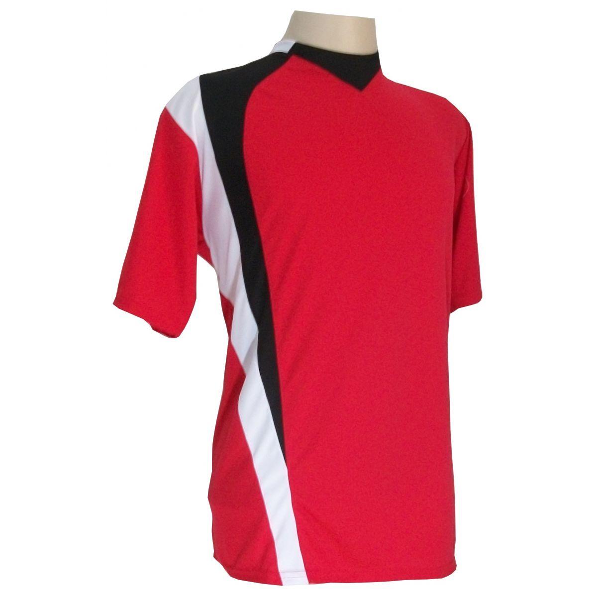 Jogo de Camisa com 14 unidades modelo PSG Vermelho/Preto/Branco + 1 Goleiro + Brindes