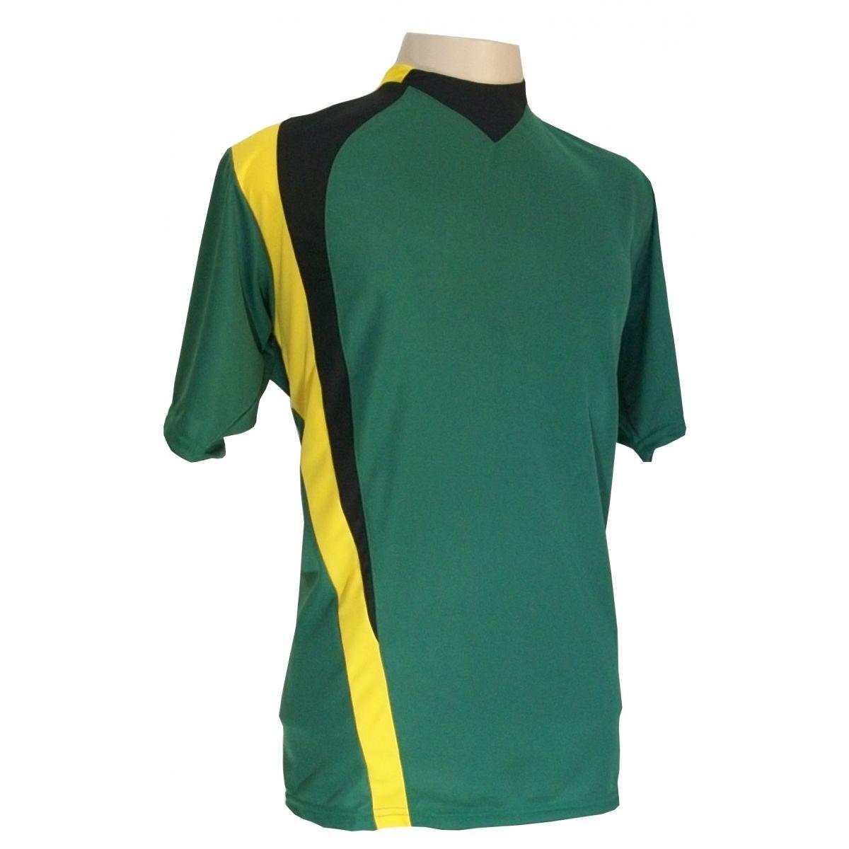 Jogo de Camisa com 14 unidades modelo PSG Verde/Preto/Amarelo + 1 Goleiro