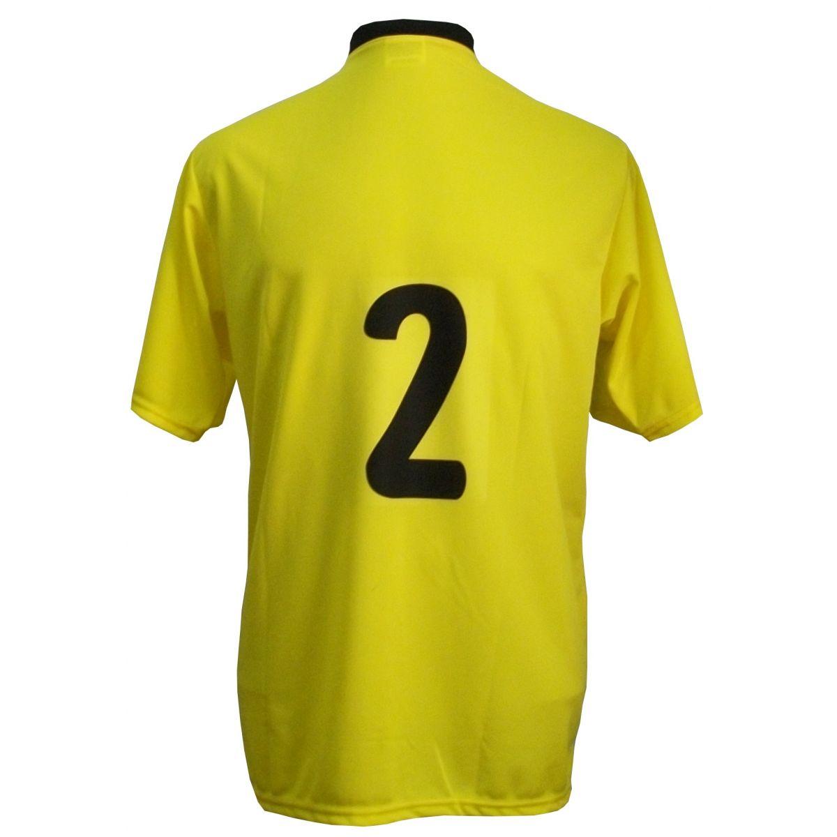Jogo de Camisa com 14 unidades modelo PSG Amarelo/Preto/Verde + 1 Goleiro + Brindes