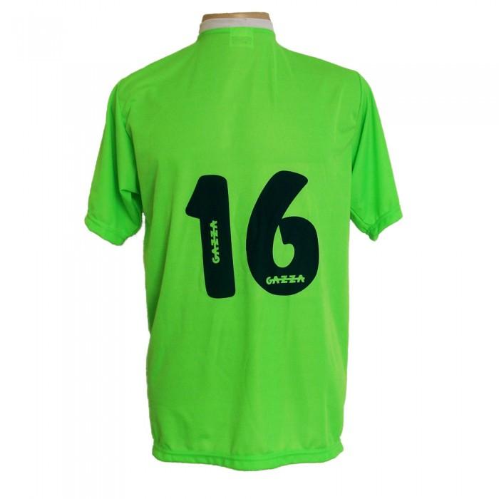 Jogo de Camisa com 14 unidades modelo PSG Limão/Preto/Branco + 1 Goleiro + Brindes
