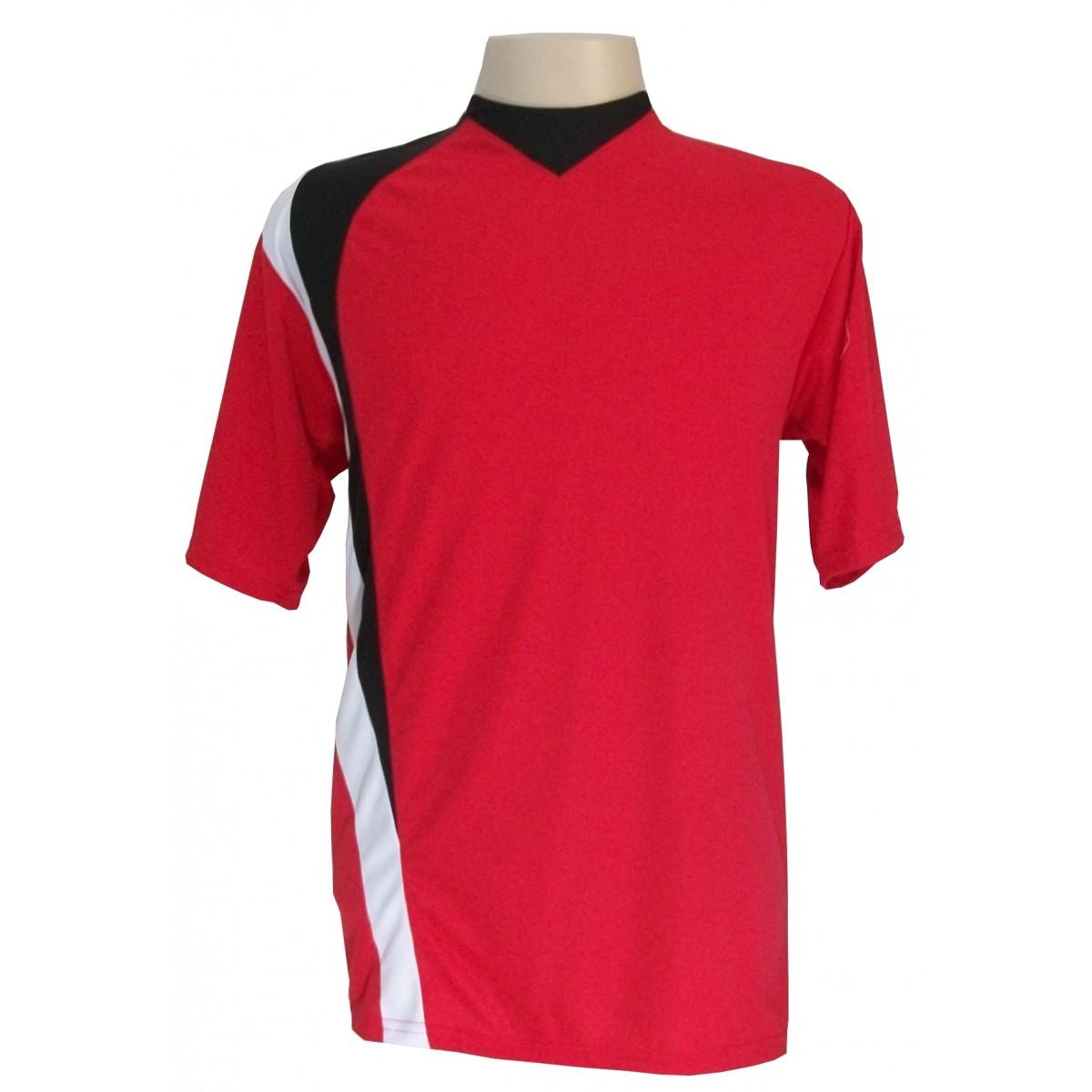 Uniforme Esportivo com 14 camisas modelo PSG Vermelho/Preto/Branco + 14 calções modelo Madrid Preto + Brindes