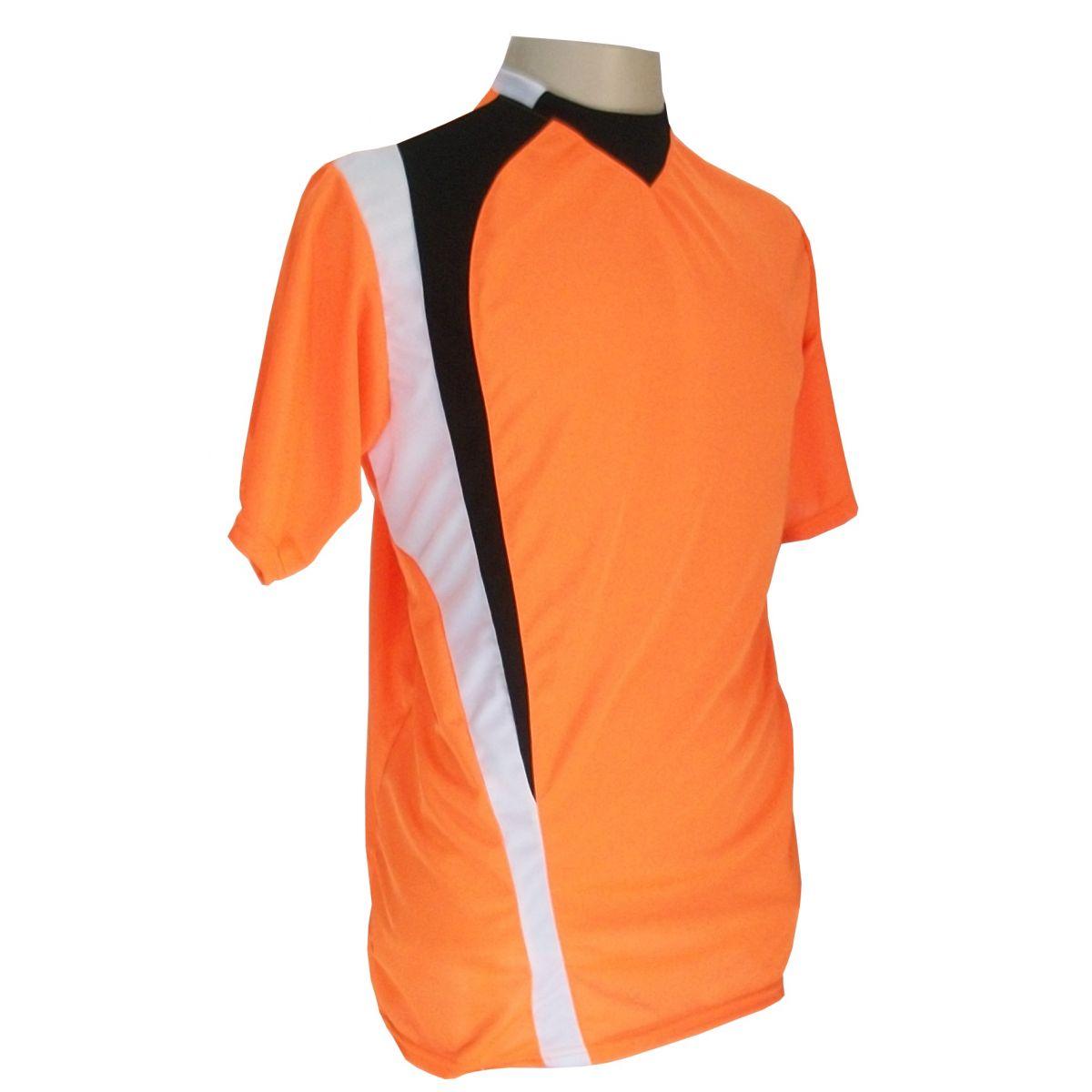 Jogo de Camisa com 14 unidades modelo PSG Laranja/Preto/Branco + 1 Goleiro + Brindes