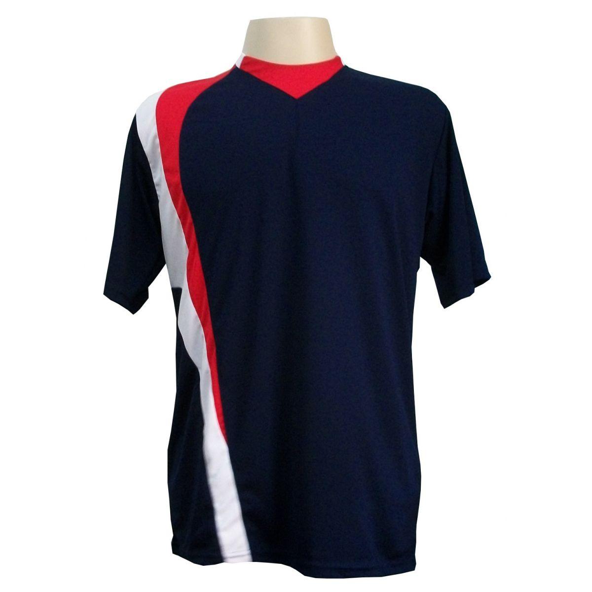 Jogo de Camisa 14 pe�as modelo PSG - Marinho/Vermelho/Branco - Frete Gr�tis Brasil + Brindes