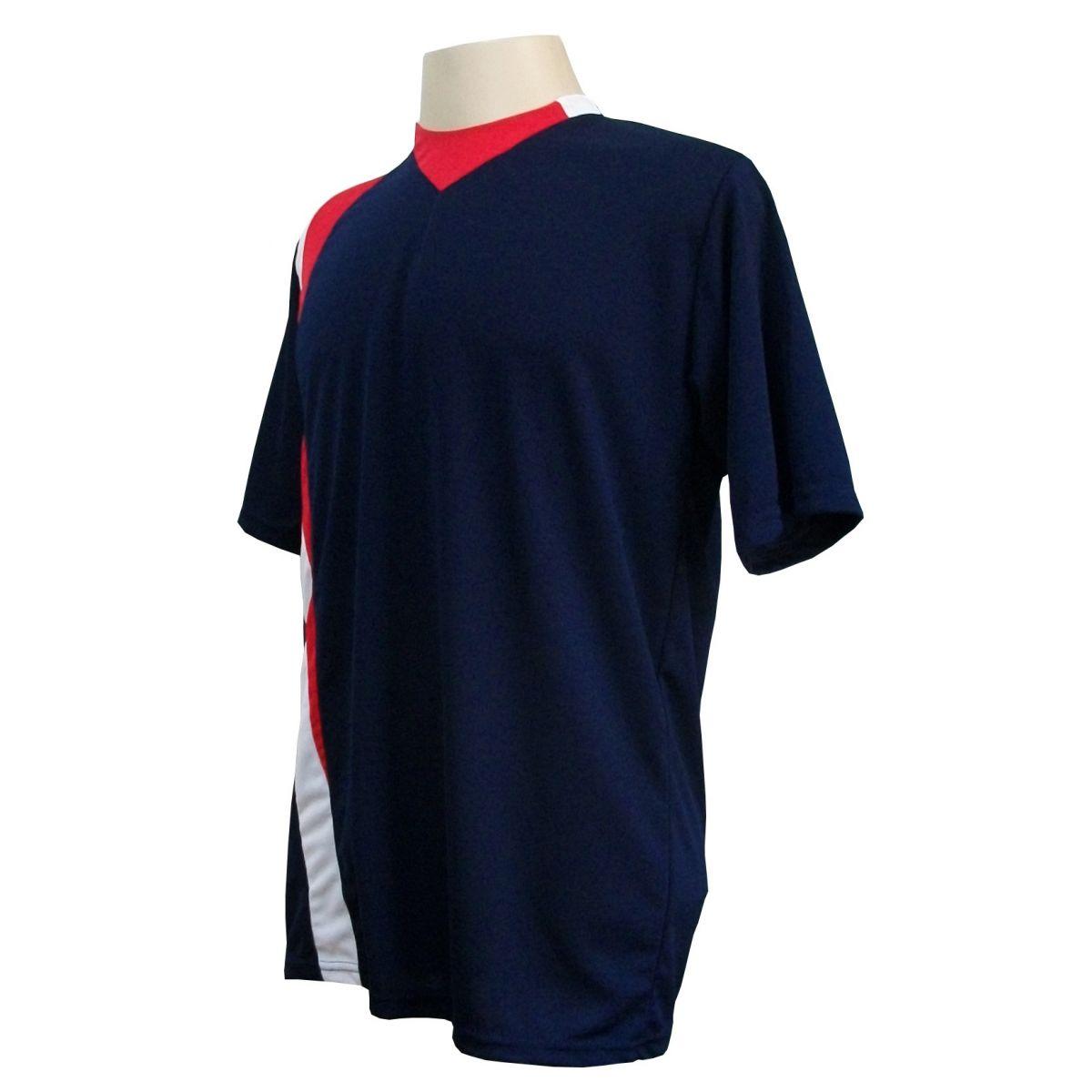 Uniforme Esportivo com 14 camisas modelo PSG Marinho/Vermelho/Branco + 14 calções modelo Madrid Branco + Brindes