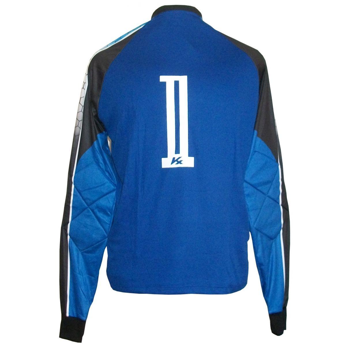 Camisa de Goleiro Profissional modelo Paraí Tam G Nº 1 - Azul Royal/Preto - Kanxa