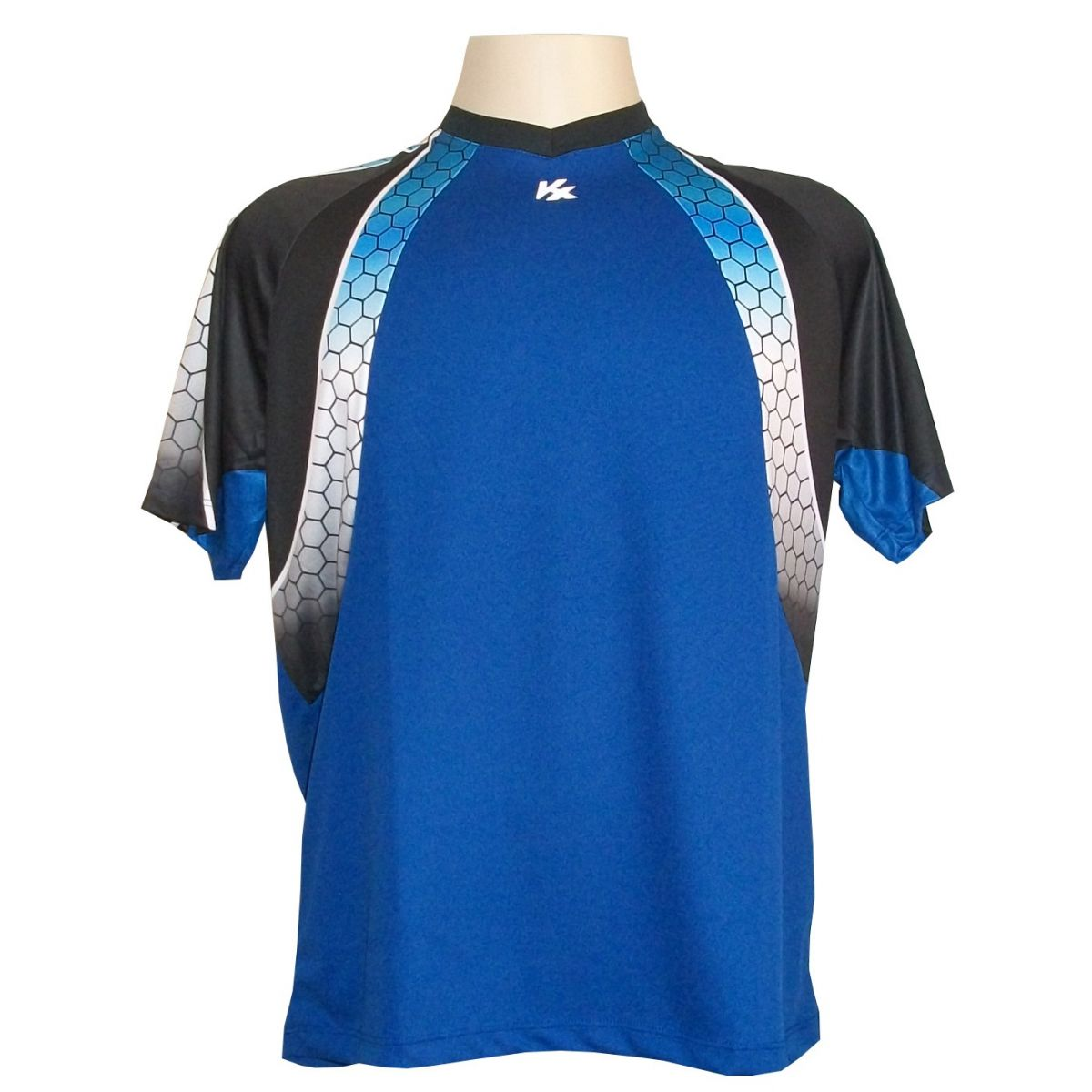 Camisa de Goleiro Profissional Manga Curta modelo Paraí Tam G Nº 1 - Azul Royal/Preto - Kanxa