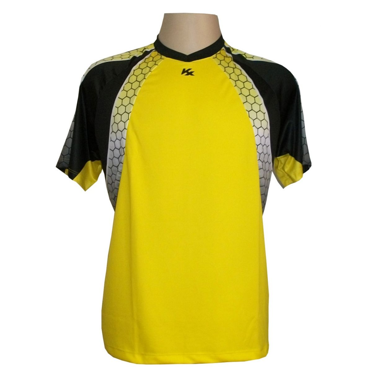 Camisa de Goleiro Profissional modelo Paraí Manga Curta Tam G Nº 1 - Amarelo/Preto - Kanxa