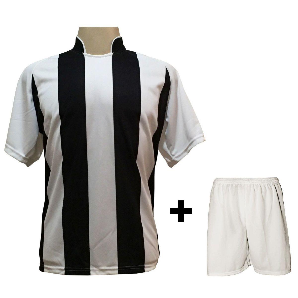 Uniforme Esportivo com 18 camisas modelo Milan Branco/Preto + 18 calções modelo Madrid + 1 Goleiro + Brindes
