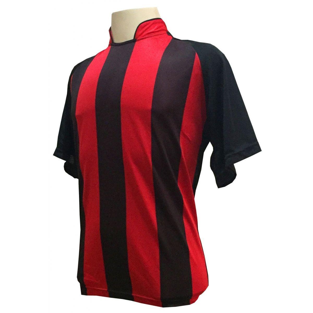 Uniforme Esportivo com 12 camisas modelo Milan Preto/Vermelho + 12 calções modelo Madrid + 1 Goleiro + Brindes