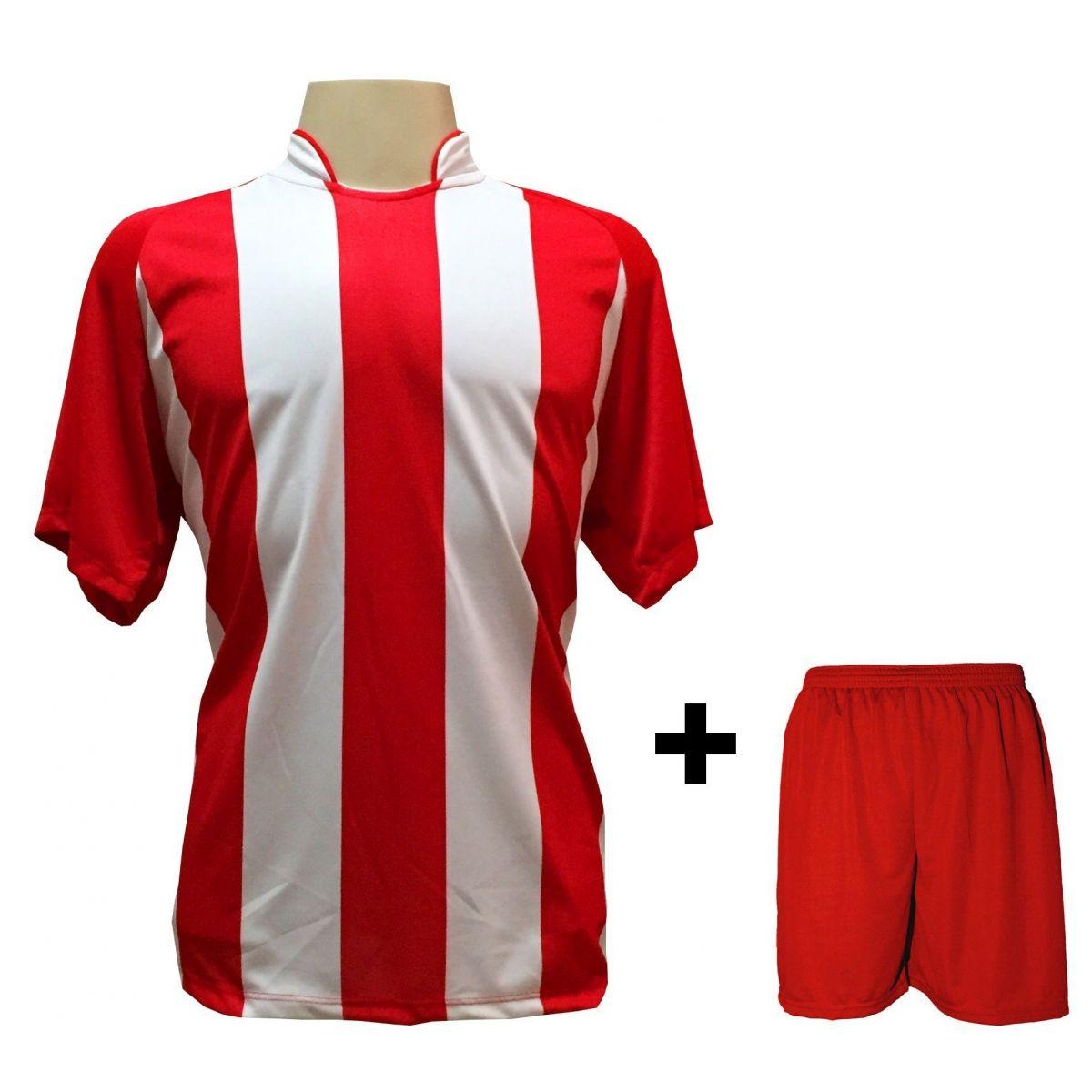 Uniforme Esportivo com 12 camisas modelo Milan Vermelho/Branco + 12 calções modelo Madrid + 1 Goleiro + Brindes