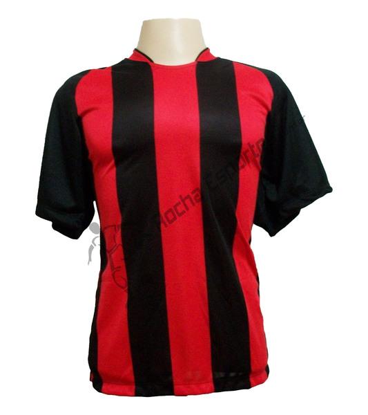 Jogo de Camisa Milan com 12 Preto/Vermelho - PlayFair - Frete Gr�tis Brasil + Brindes