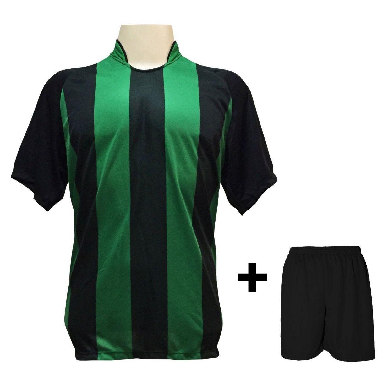 Uniforme Esportivo com 18 camisas modelo Milan Preto/Verde + 18 calções modelo Madrid Preto + 1 Goleiro