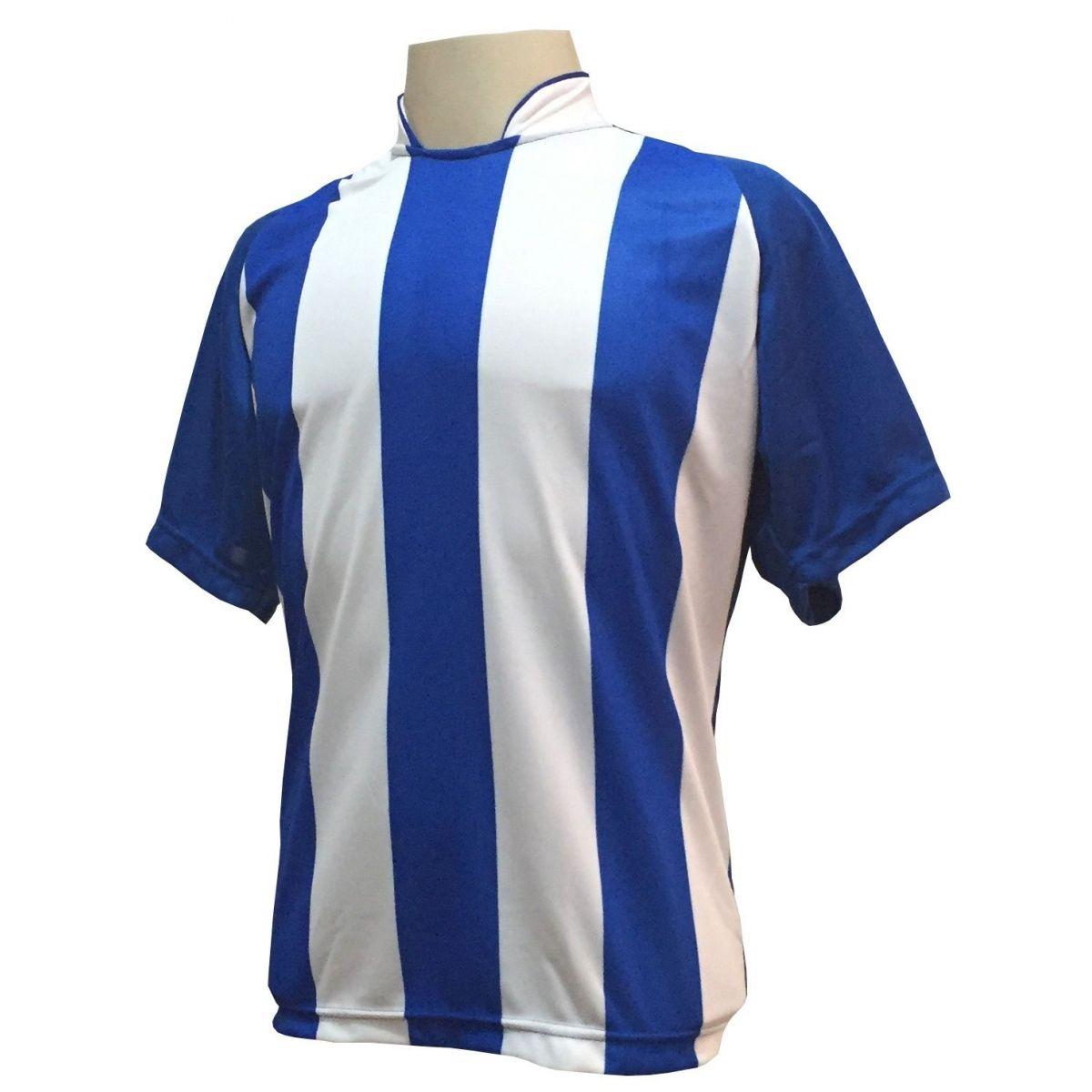 Uniforme Esportivo com 18 camisas modelo Milan Royal/Branco + 18 calções modelo Madrid + 1 Goleiro + Brindes