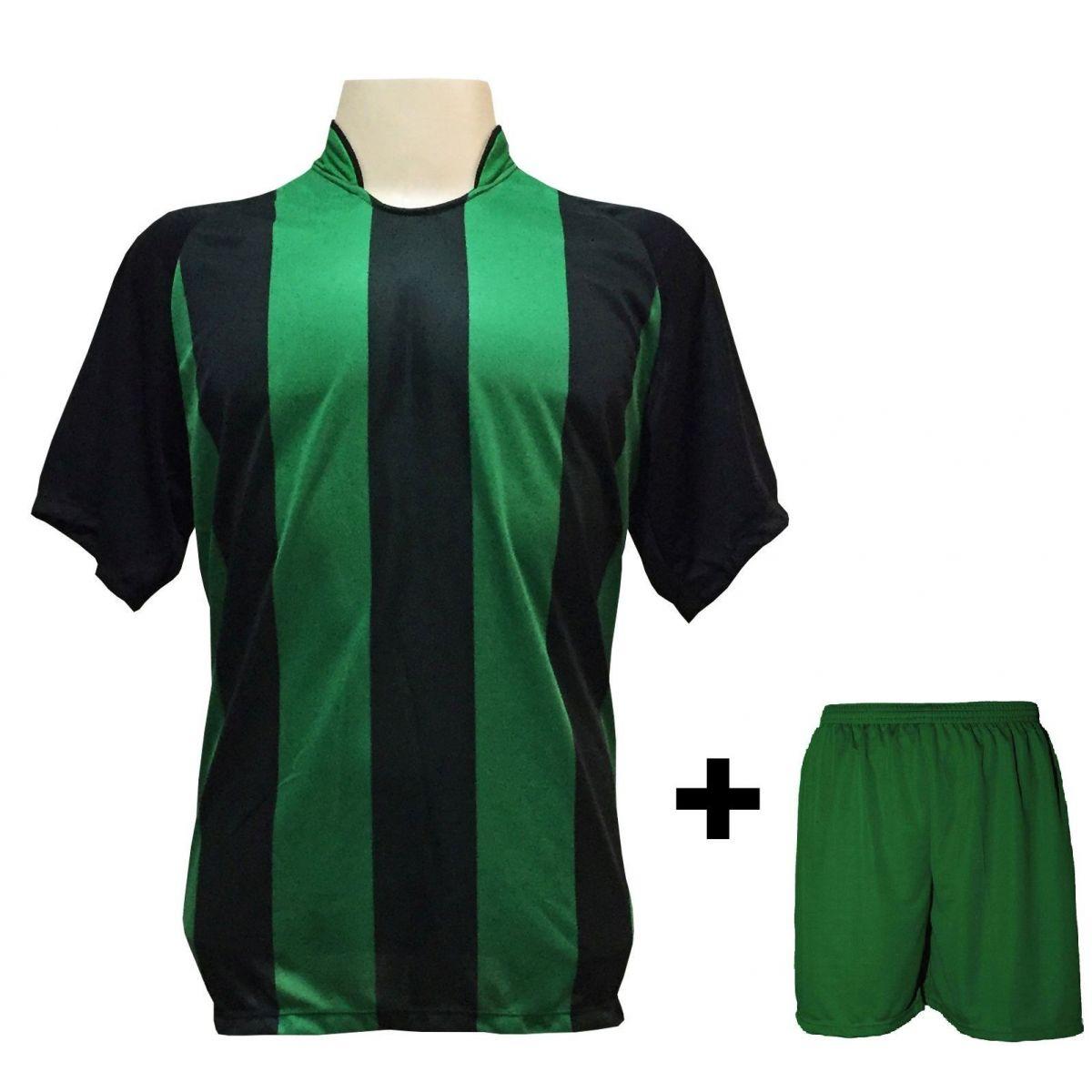 Uniforme Esportivo com 18 camisas modelo Milan Preto/Verde + 18 calções modelo Madrid + 1 Goleiro