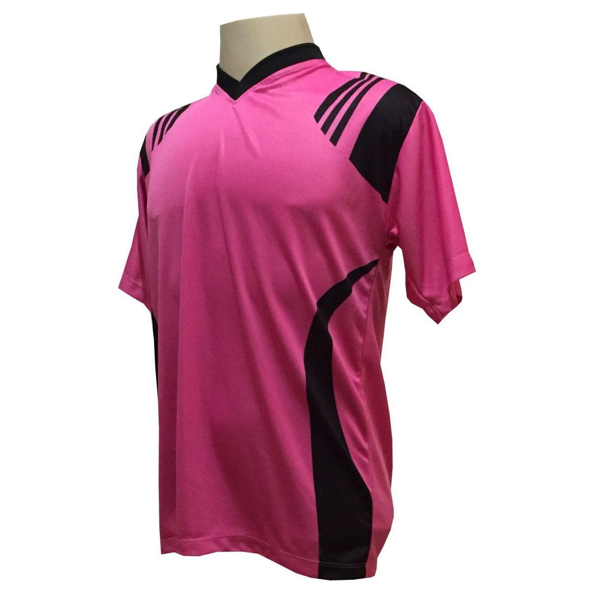 Uniforme Esportivo com 18 camisas modelo Roma Pink/Preto + 18 calções modelo Madrid + 1 Goleiro + Brindes