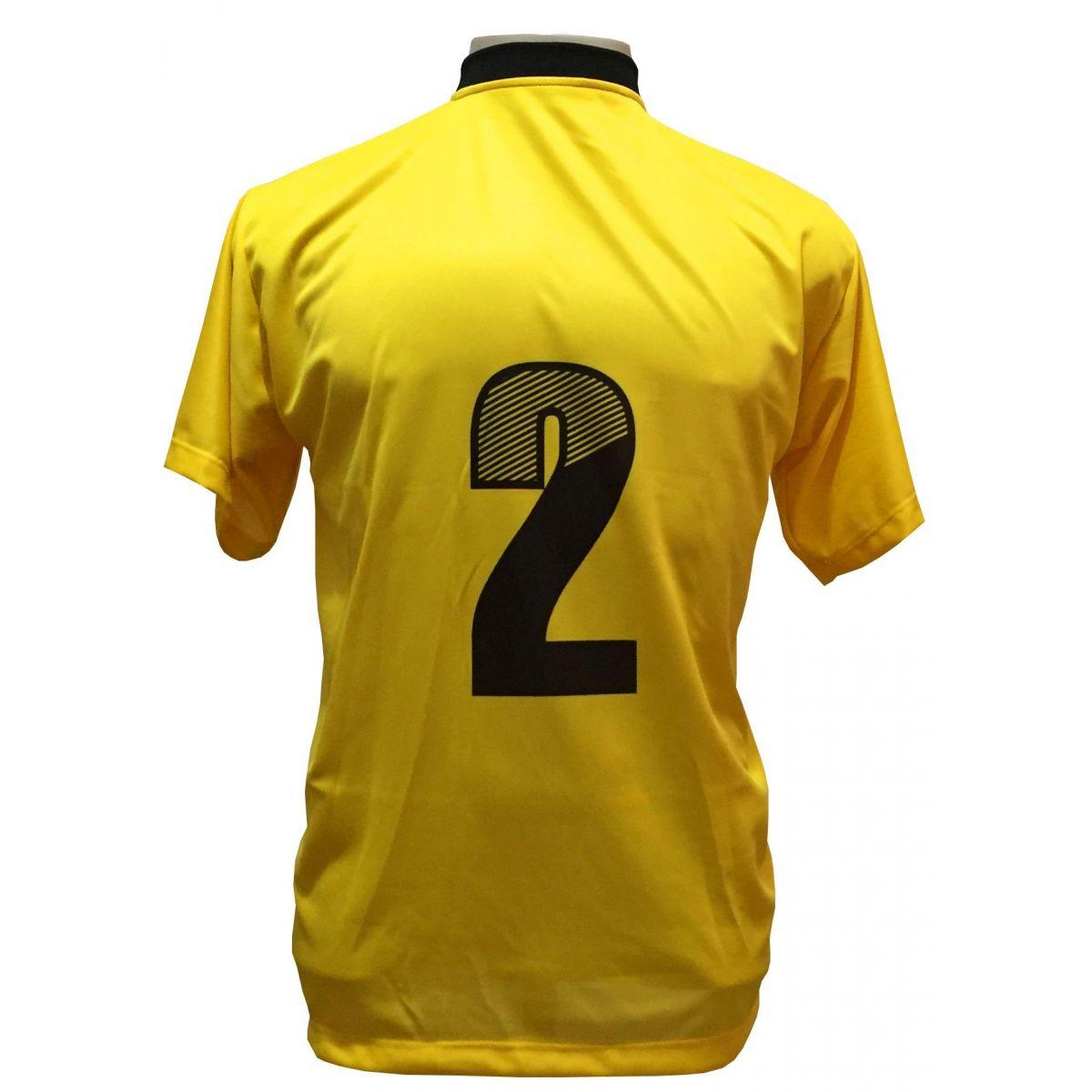 Uniforme Esportivo com 12 camisas modelo Roma Amarelo/Preto + 12 calções modelo Madrid + 1 Goleiro + Brindes