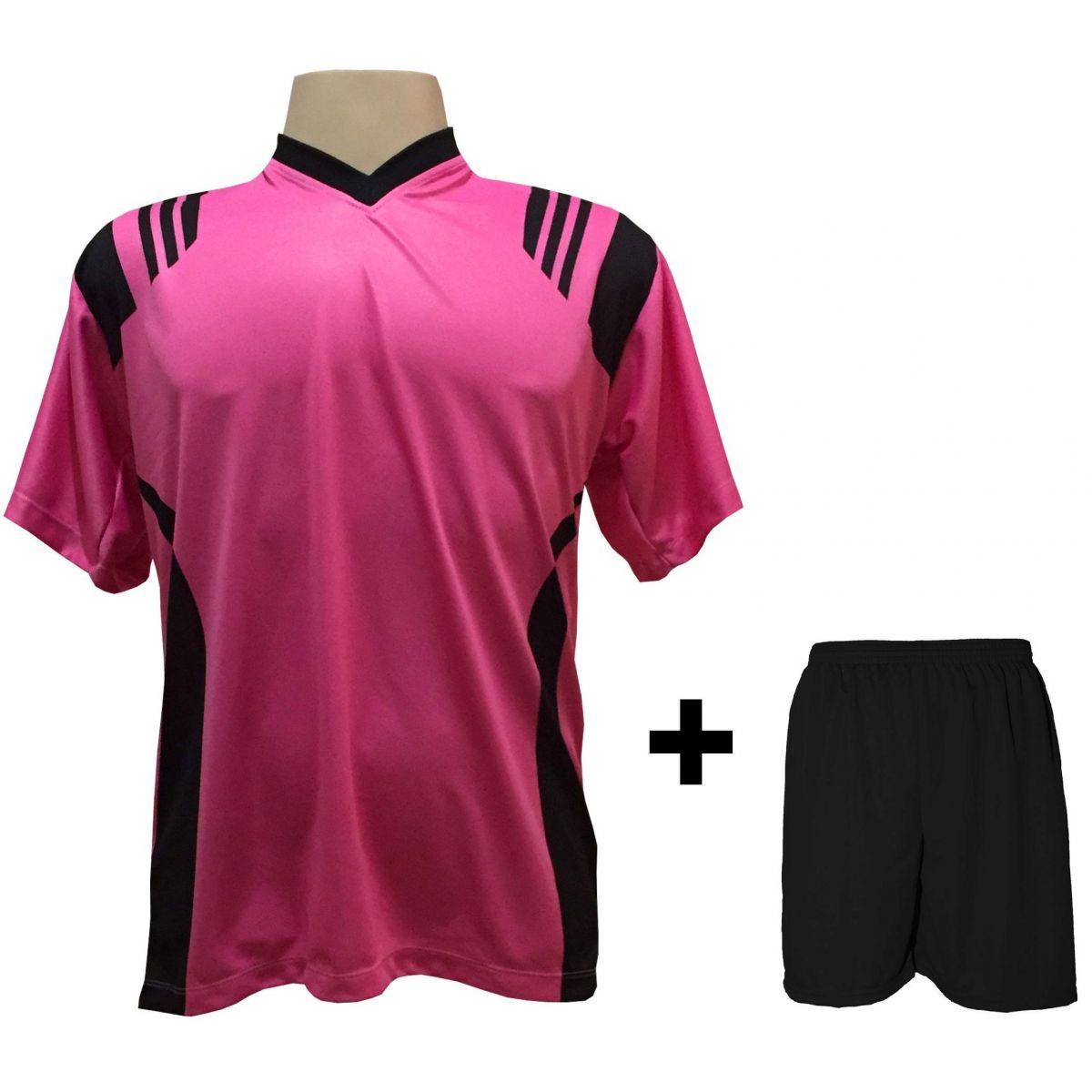 Uniforme Esportivo com 12 camisas modelo Roma Pink/Preto + 12 calções modelo Madrid + 1 Goleiro + Brindes