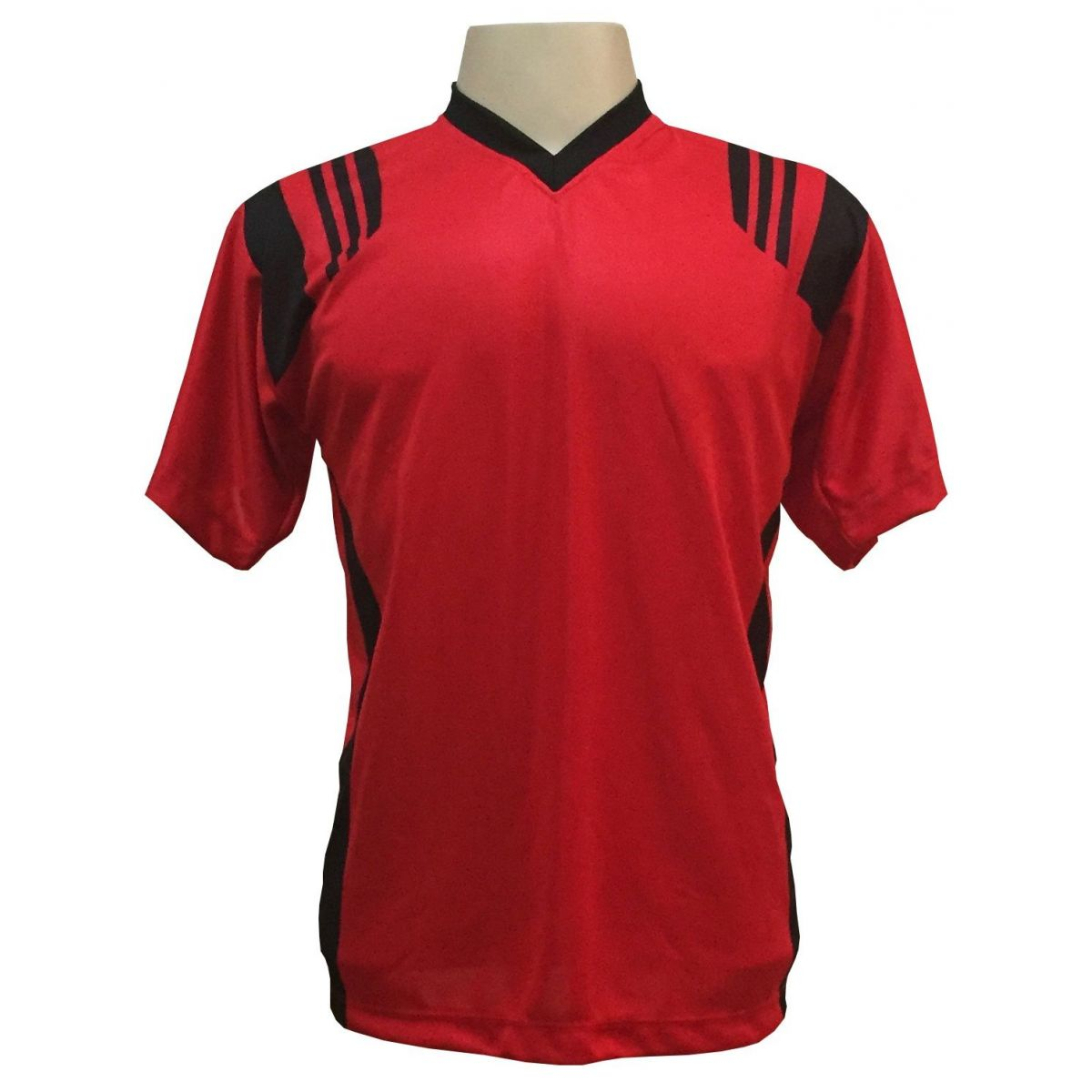 Uniforme Esportivo com 12 camisas modelo Roma Vermelho/Preto + 12 calções modelo Madrid + 1 Goleiro + Brindes