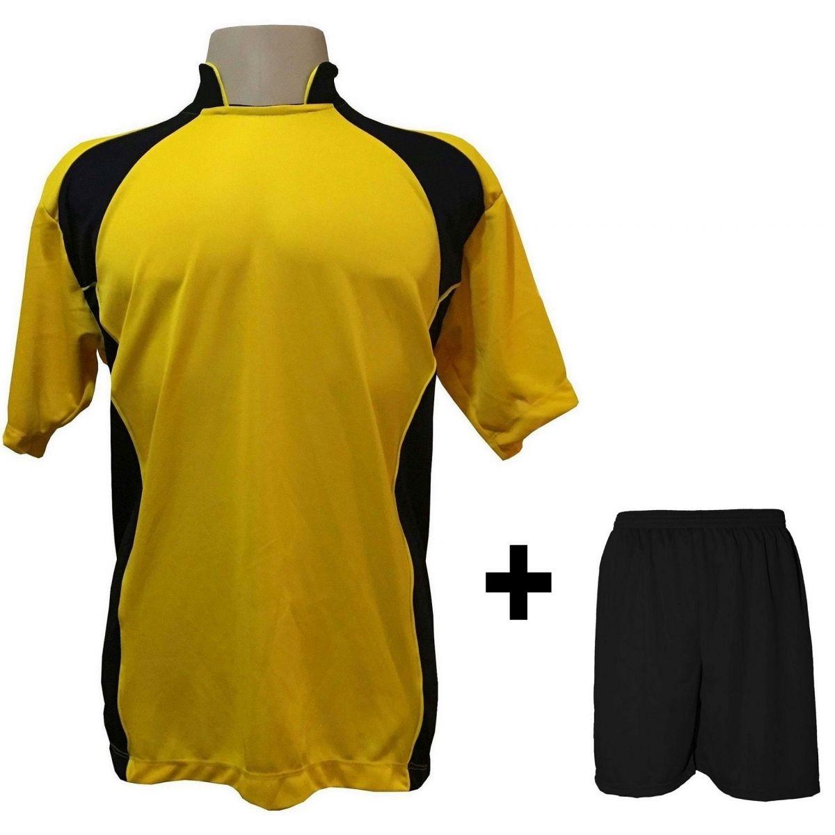d901802bdf Uniforme Esportivo com 14 camisas modelo Suécia Amarelo Preto + 14 calções  modelo Madrid + ...